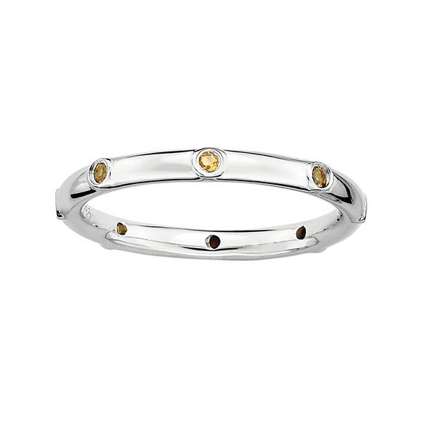 Personally Stackable Genuine Citrine Sterling Silver Station Ring