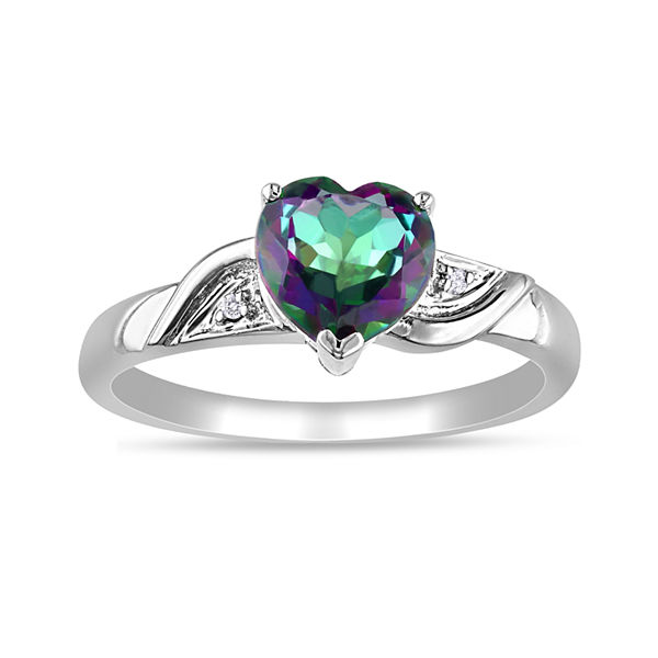 Heart-Shaped Genuine Green Topaz and Diamond-Accent 10K White Gold Heart Ring