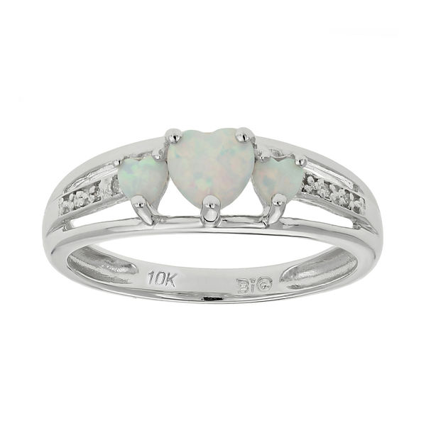 Lab-Created Opal& Diamond-Accent Heart-Shaped 3-Stone 10K White Gold Ring