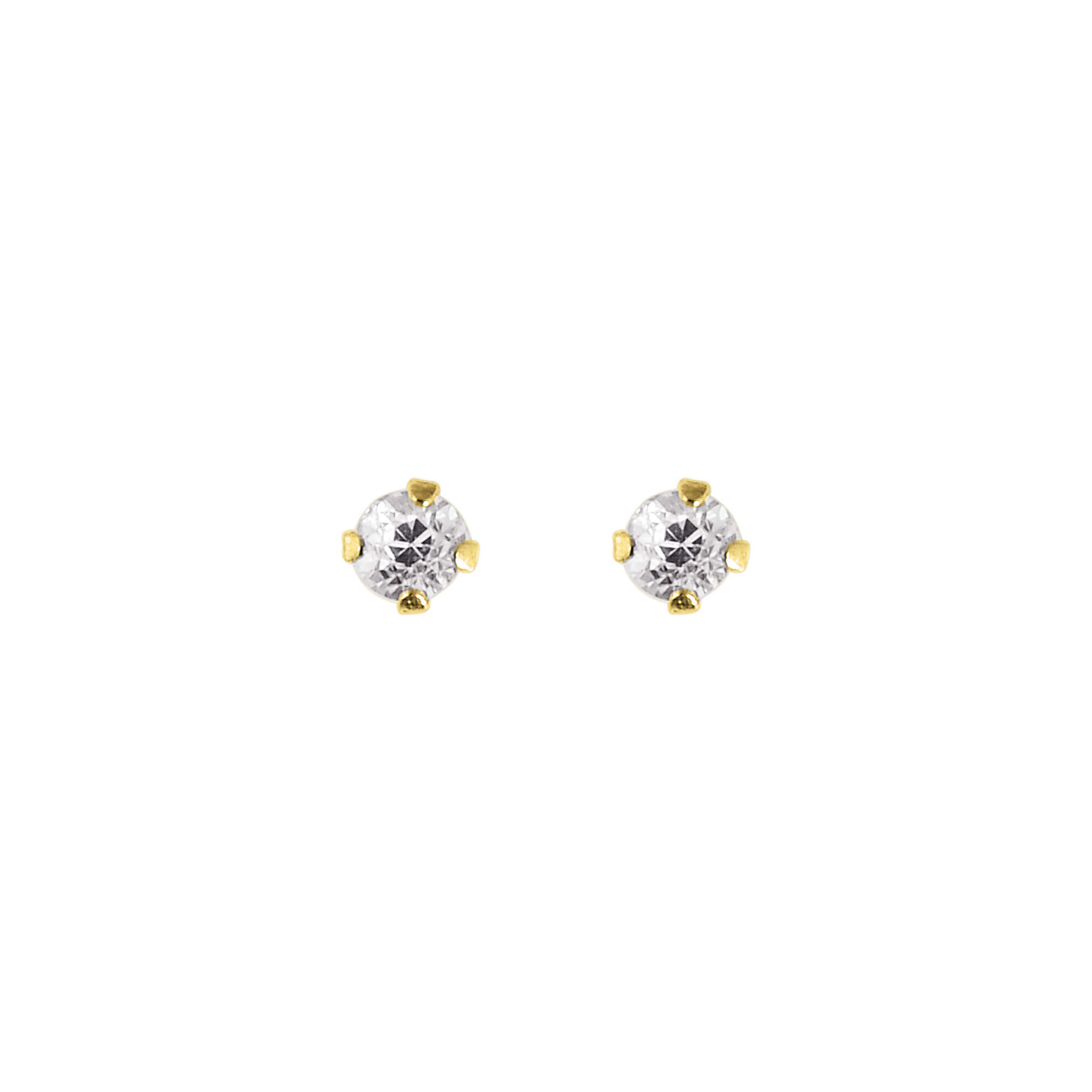 14K Yellow Gold Shiny 2.0mm Round Faceted White Cubic Zirconia Stud Earring