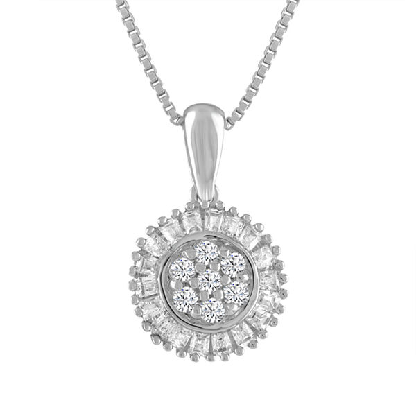 Diamond Blossom Womens 1/5 CT. T.W. White Diamond Sterling Silver Pendant Necklace