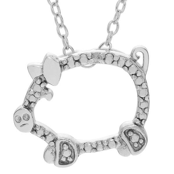 Womens 18 Inch Diamond Accent White Diamond Sterling Silver Link Necklace