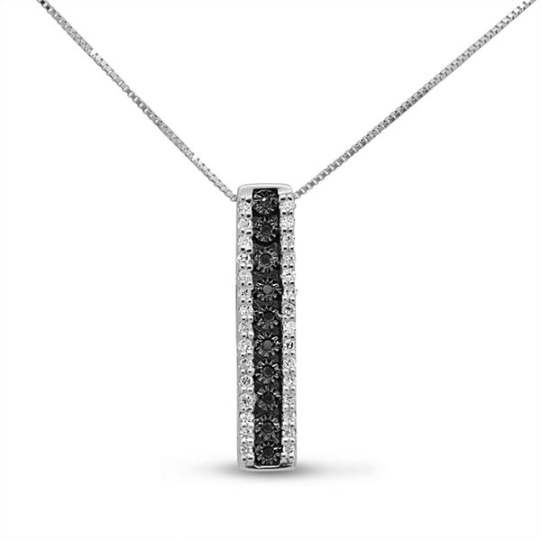 Womens 1/5 CT. T.W. Black Diamond Sterling Silver Pendant Necklace