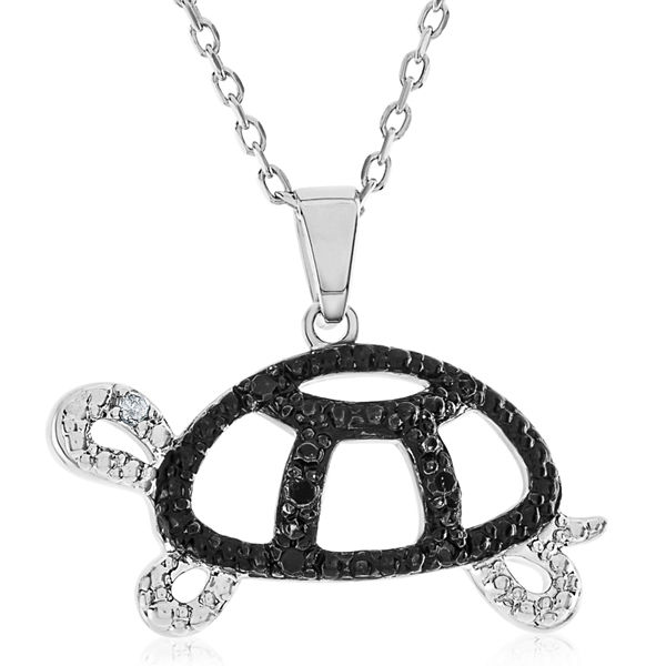 1/10 CT. T.W. Black Diamond Round Sterling Silver Pendant