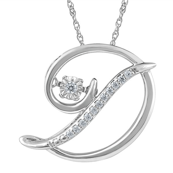 Love in MotionΓäó Diamond-Accent Sterling Silver 'D' Pendant Necklace