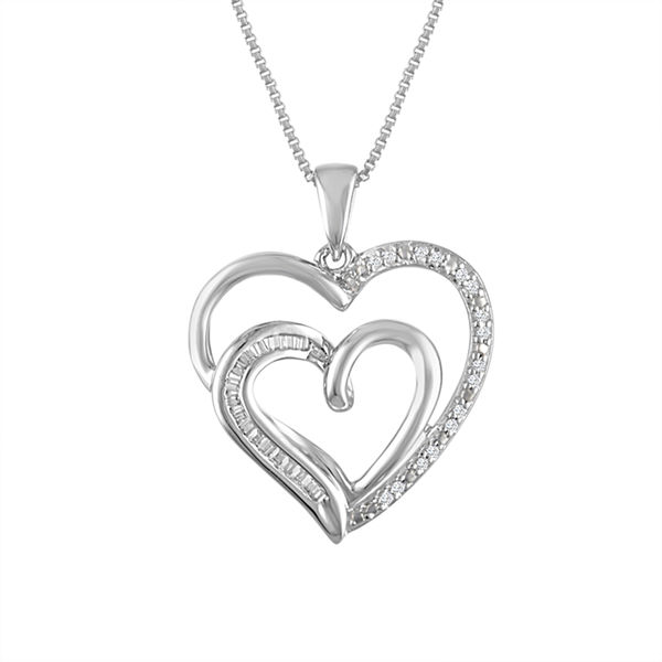Forever Mine Womens 1/10 CT. T.W. White Diamond Sterling Silver Pendant Necklace