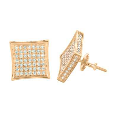 Rose Gold Tone Earrings Mens Womens Kite Design Vintage Lab Created Cubic Zirconias Micro Pave