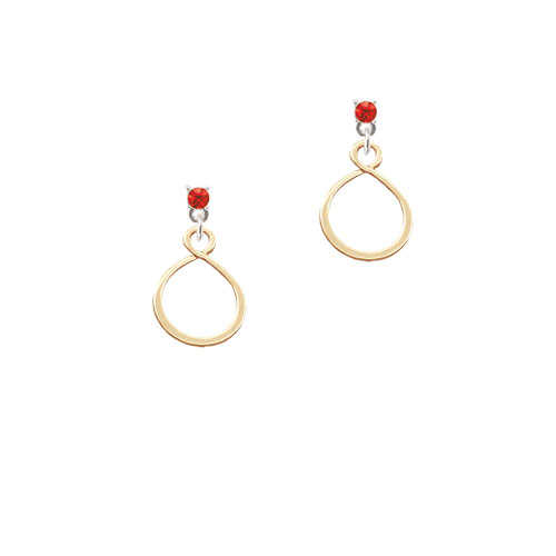 Gold Tone Infinity Loop - Red Crystal Post Earrings