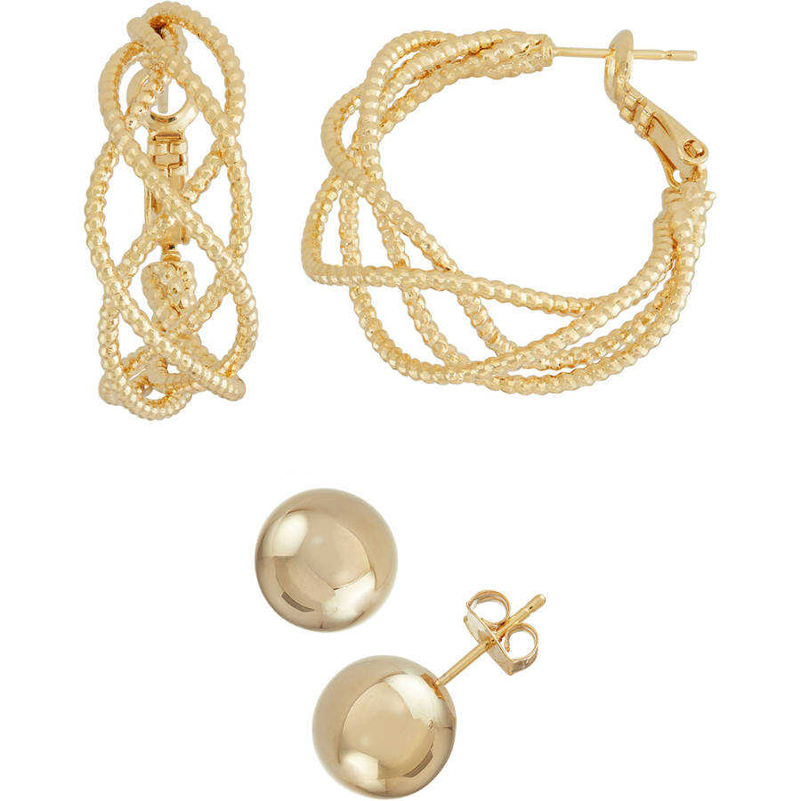 X & O Gold-Tone Intertwined Hoop and Shiny Stud Earring Set, Sizes 30mm and 10mm, 2 Pairs