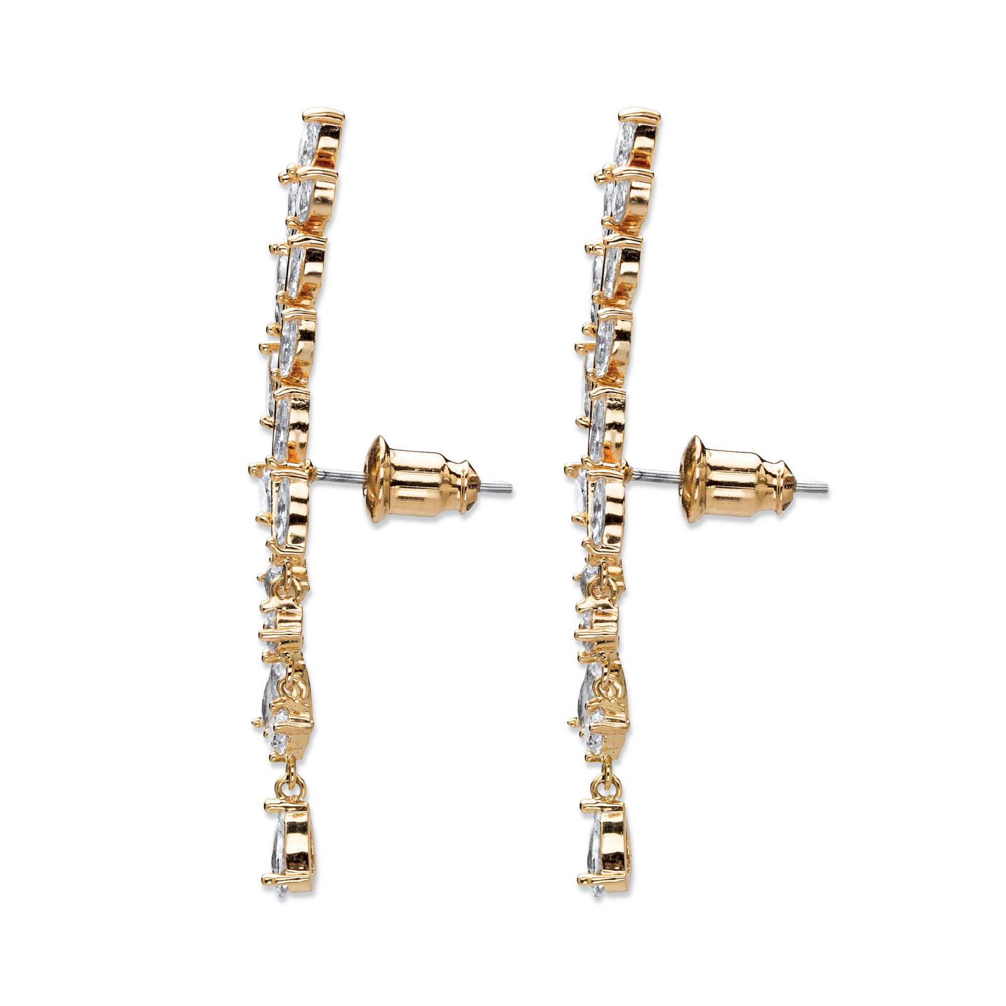 Marquise-Cut Crystal Ear Climber Earrings in Gold Tone with Round and Pear Drop Accents