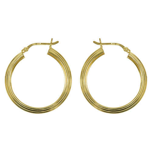 Forever New Gold Tone Ribbed Hoop Earrings