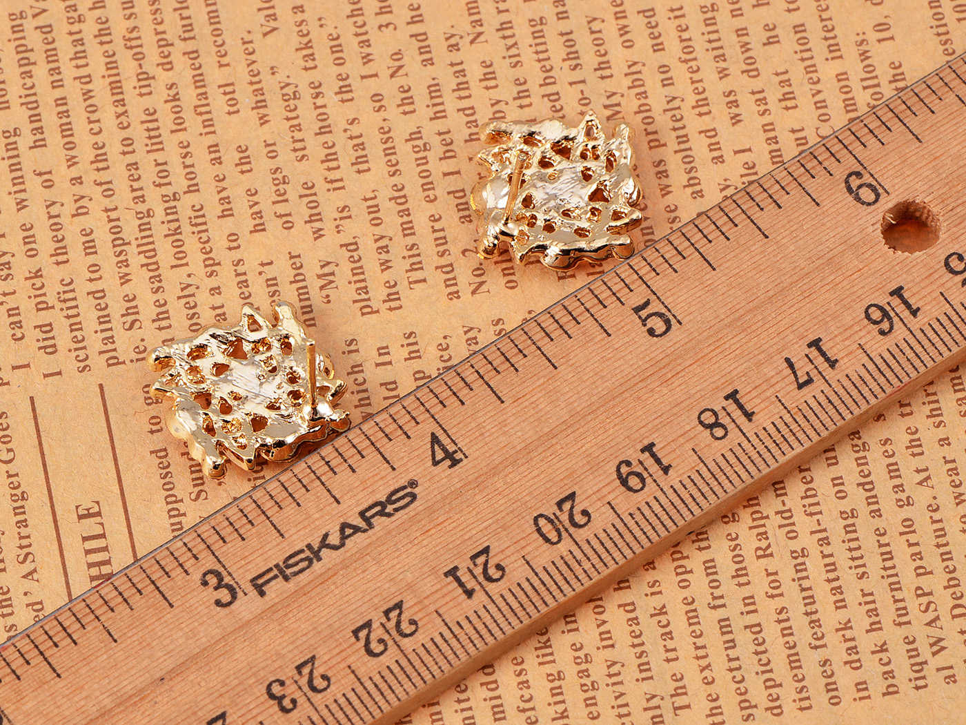 Swarovski Crystal Elements Rainbow Colors Square Shaped Fashion Button Earrings