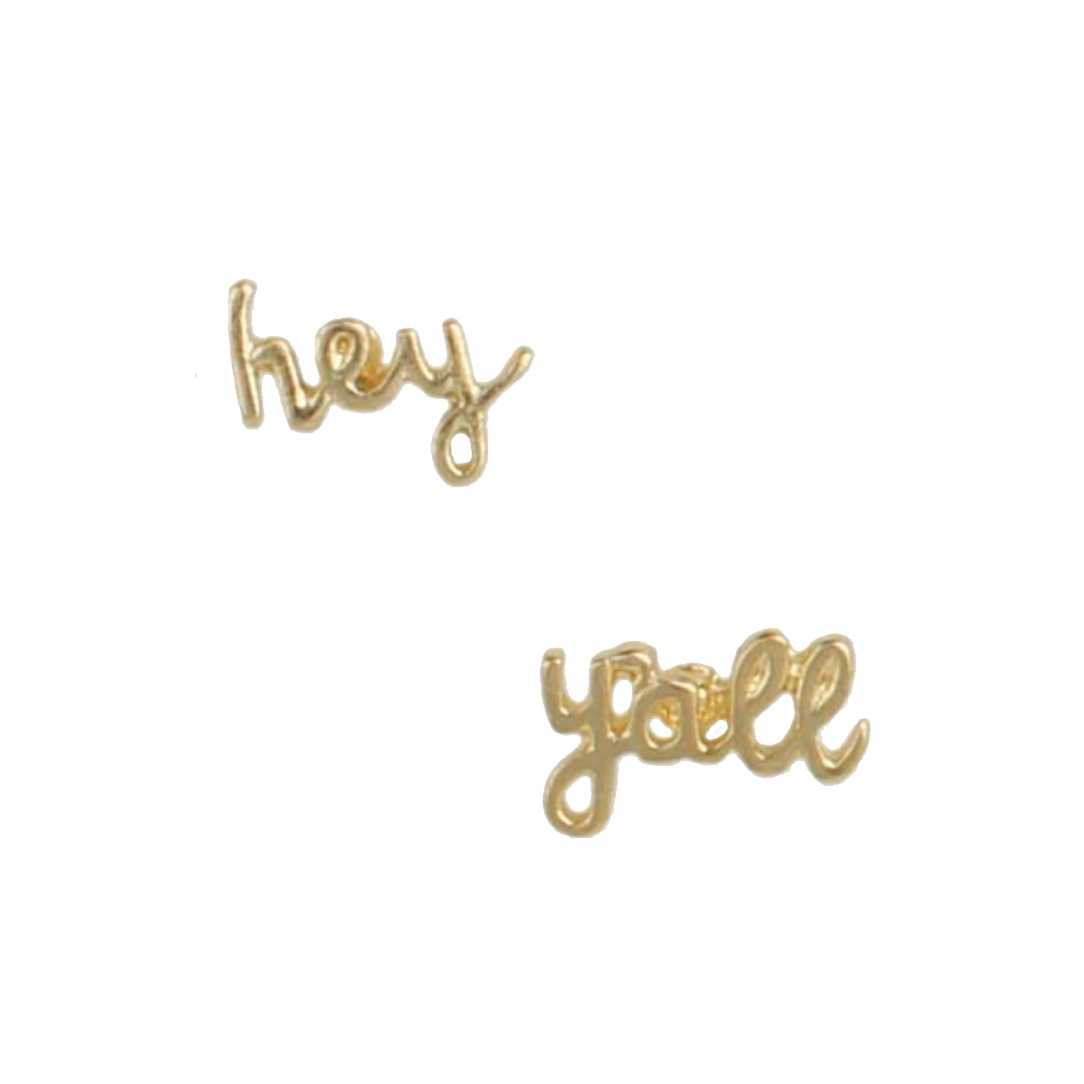 Zad Jewelry 'Hey Y'all' Southern Charm Stud Earrings, Gold