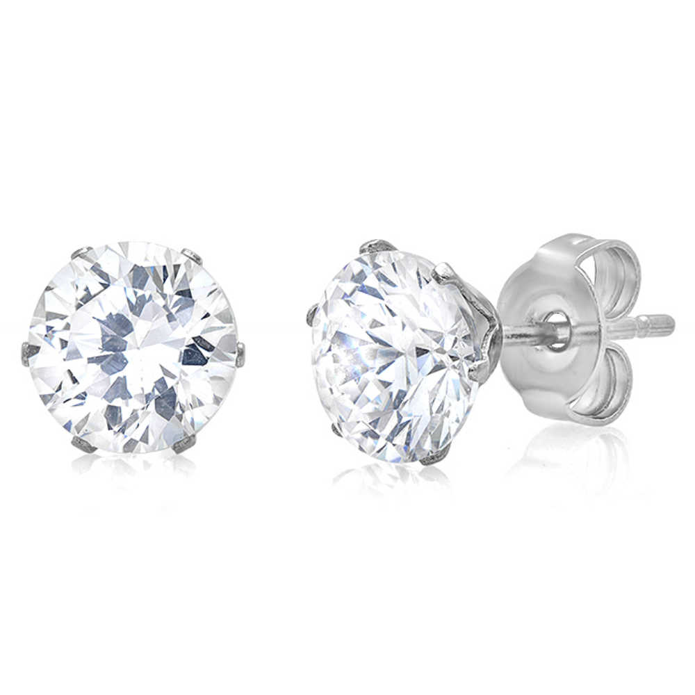 Stainless Steel 7mm Round Cubic Zirconia Stud Earrings (4ct tw)