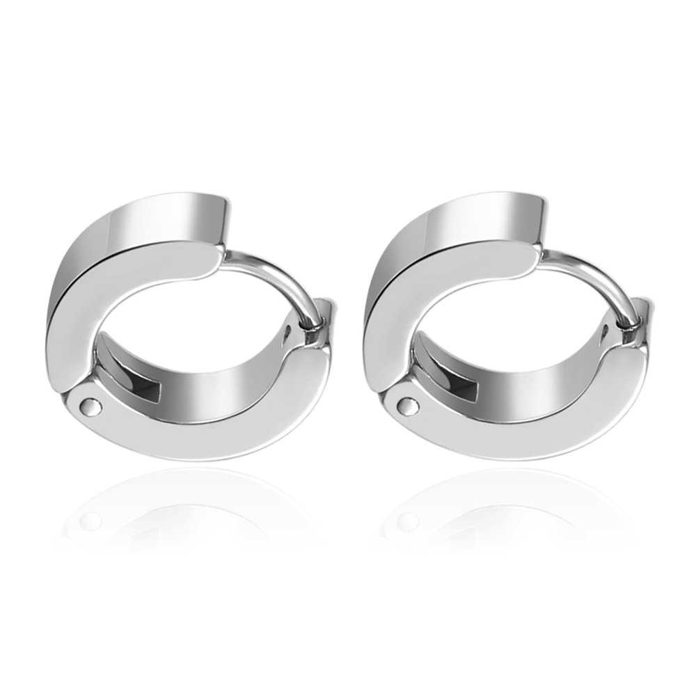 Unique Cool Mens Stainless Steel Hoop Piercing Ear Earring Studs Silver Color