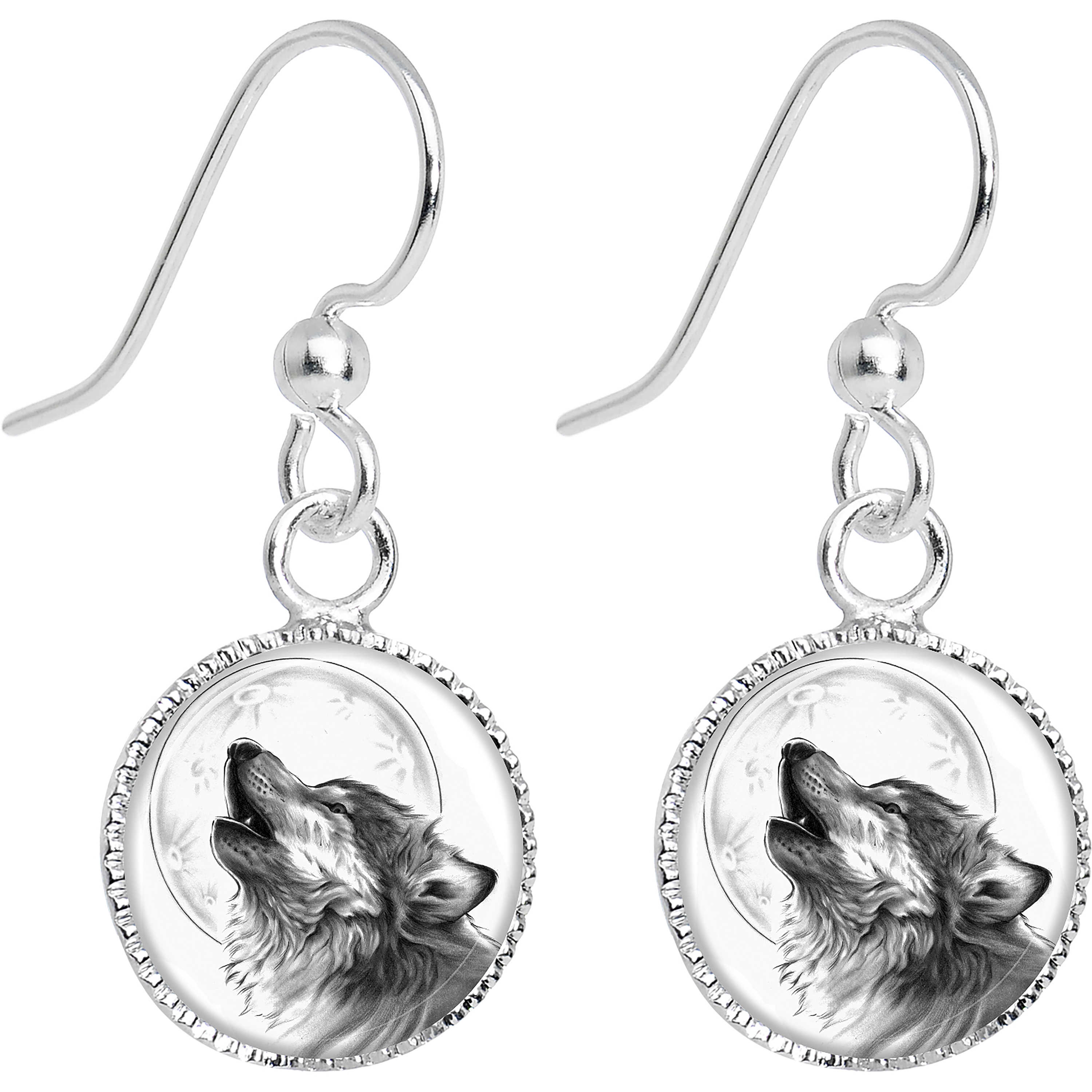 Body Candy Stainless Steel Howling Wolf Dangle Earrings