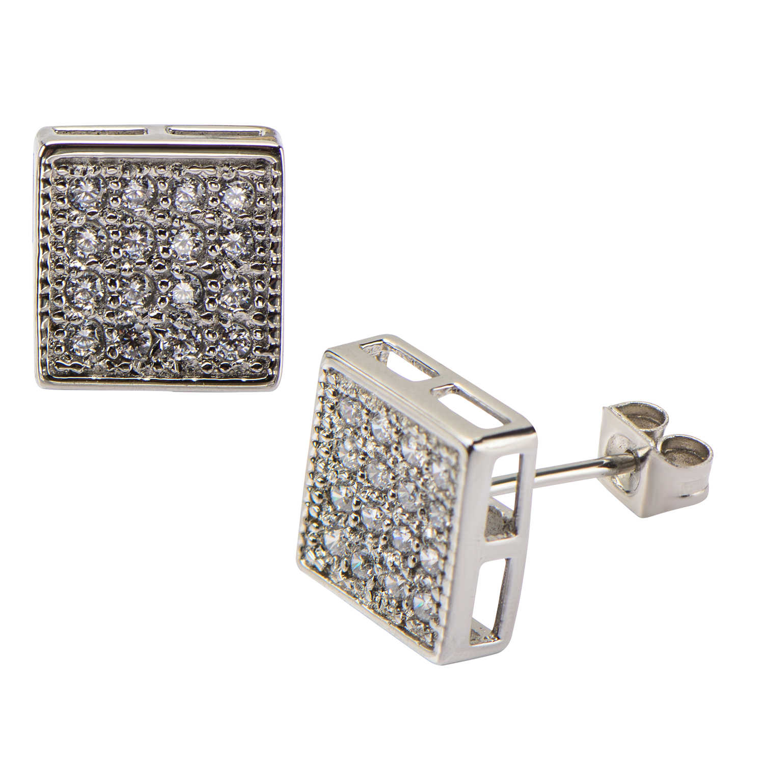 Body Art Stainless Steel with Clear CZ Stones in Pave Set Square Hip Hop Studs Earrings