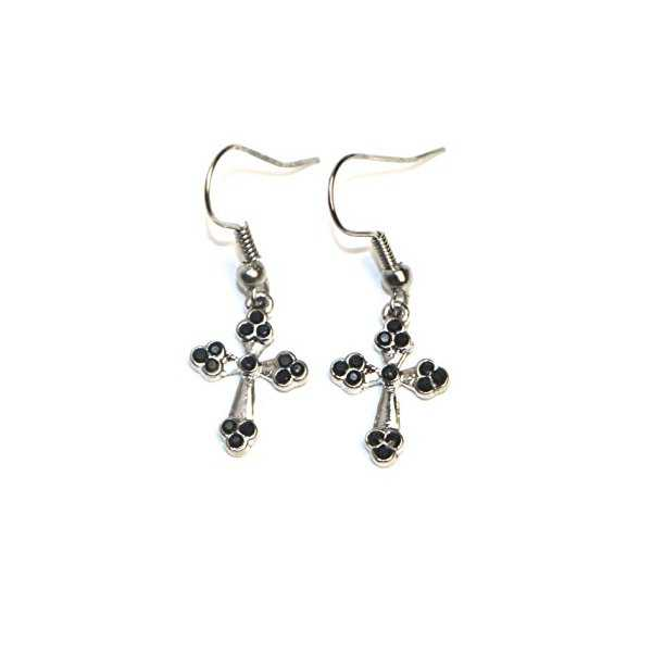 Hypoallergenic Surgical Steel Dangle Cross Earrings for Girls (black crystal on silver)