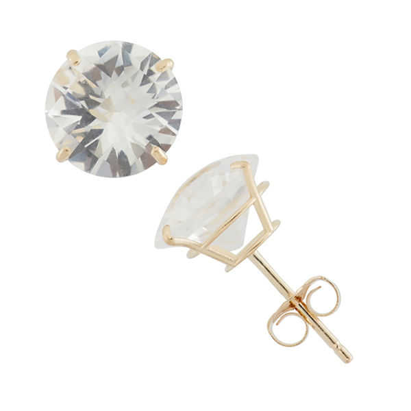 Round White Sapphire 10K Gold Stud Earrings