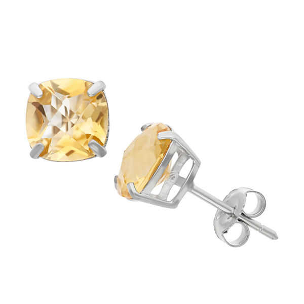 Cushion Yellow Citrine Sterling Silver Stud Earrings