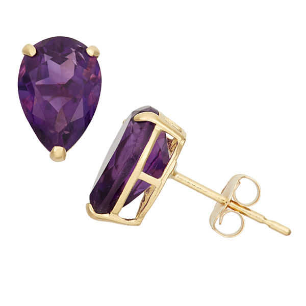 Pear Purple Amethyst 10K Gold Stud Earrings