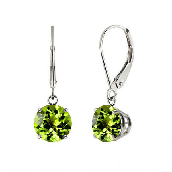 Genuine Peridot Sterling Silver Leverback Dangle Earrings