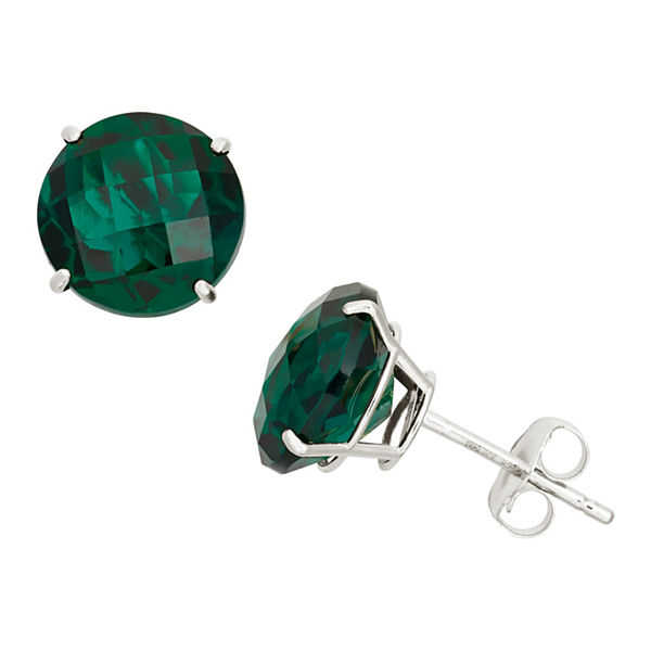 Round Green Emerald 10K Gold Stud Earrings