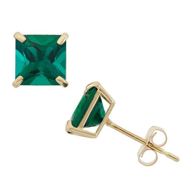 Princess Green Emerald 10K Gold Stud Earrings