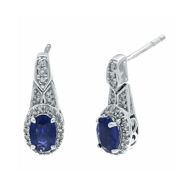 1/4 CT. T.W. Diamond and Genuine Blue Sapphire Oval Drop Earrings