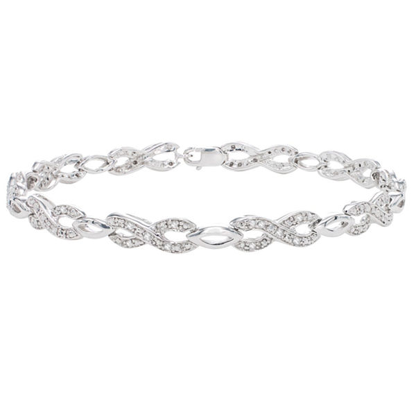 Womens 1/4 CT. T.W. White Diamond Sterling Silver Tennis Bracelet