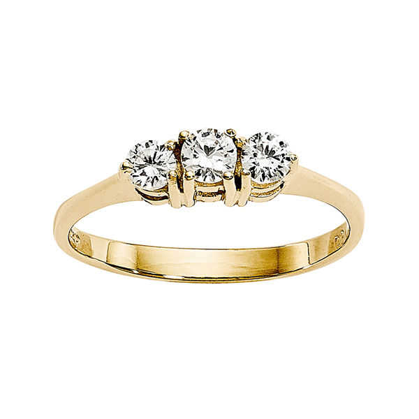 1/3 CT. T.W. Diamond 14K Yellow Gold 3-Stone Ring