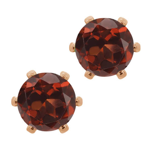 2.00 Ct Round 6mm Red Garnet Brass Rose Gold Plated Brass Stud Earrings