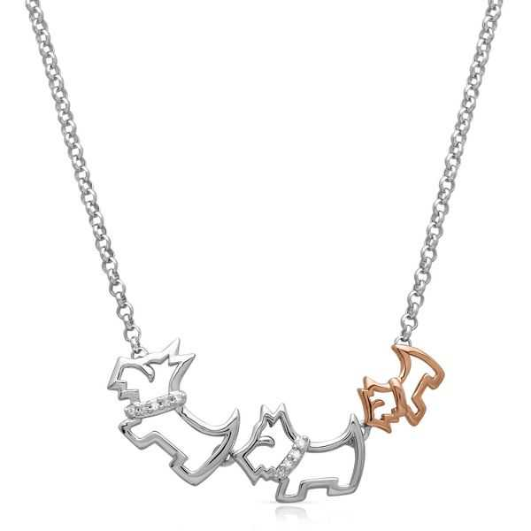 Diamond Mom, Dad & Baby Scottie Dog pendant in Sterling Silver