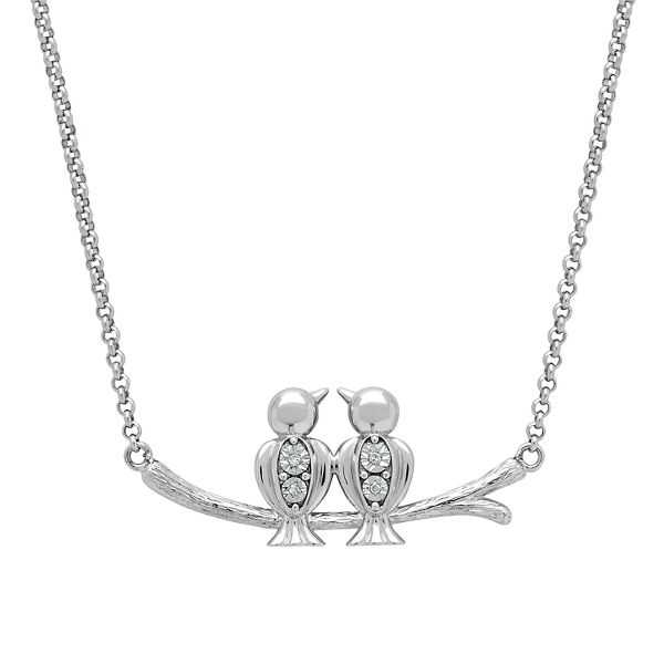 Diamond Love Birds Necklace in Sterling Silver