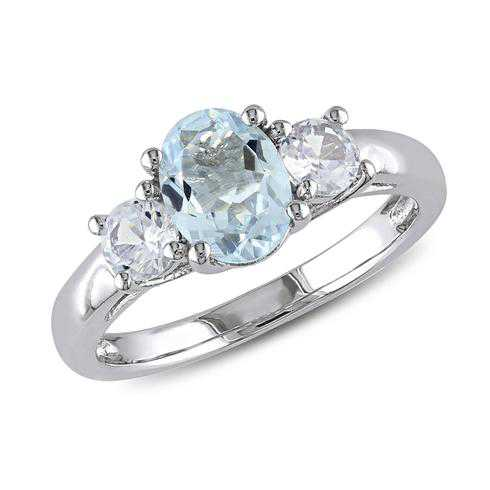 Oval Aquamarine and Created White Sapphire Three-Stone Sterling Silver Ring