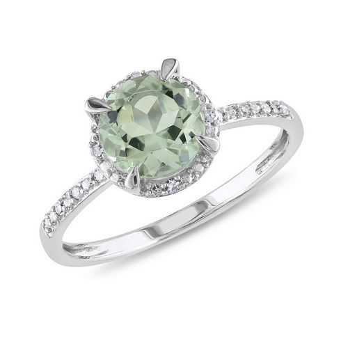 Round Green Amethyst and Diamond Ring 1/20ctw