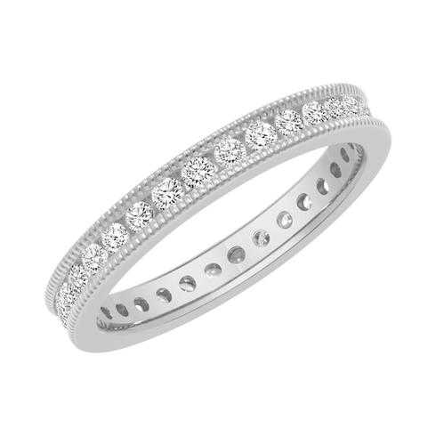 Platinum Channel Set Milgrain Round Diamond Eternity Band 1/2ctw