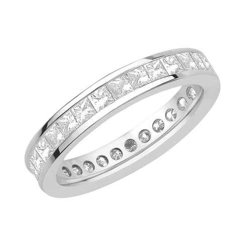 White Gold Channel Set Princess Diamond Eternity Band 2ctw