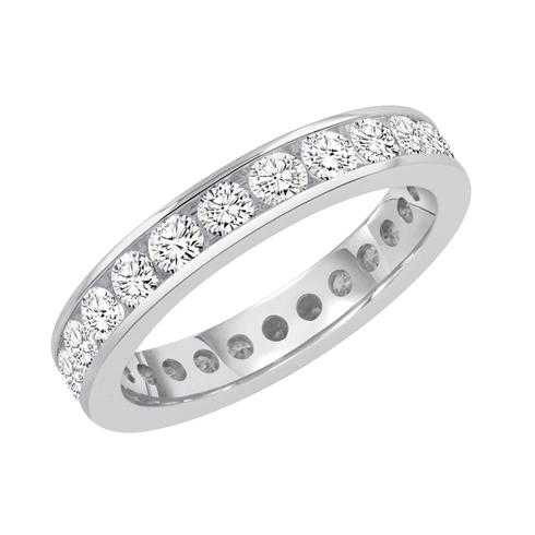 White Gold Channel Set Round Diamond Eternity Band 1 1/2ctw