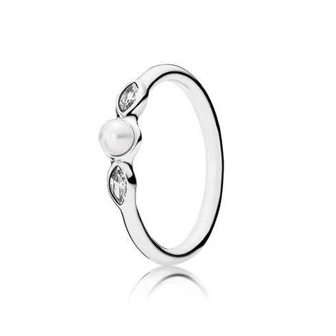 PANDORA Petite Luminous Leaves Ring, White Pearl & Clear CZ
