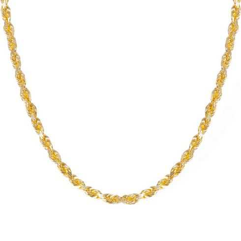 Yellow Gold Diamond Cut Solid Rope Chain 4.4.mm