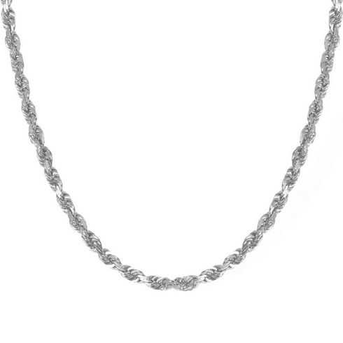 White Gold Diamond Cut Solid Rope Chain 4.4mm