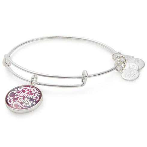 Alex and Ani Celebrate Today Charm Bangle in Shiny Silver Finish - American Cancer Society
