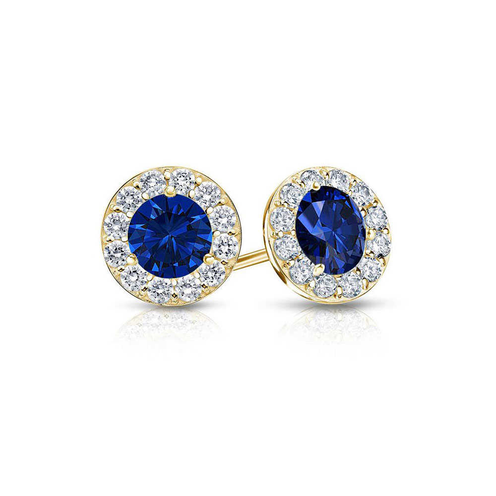 Fine Jewelry Vault Designer September Birthstone Sapphire and CZ Halo Stud Earrings 18K Yellow Gold Vermeil 1.50 CT TGW