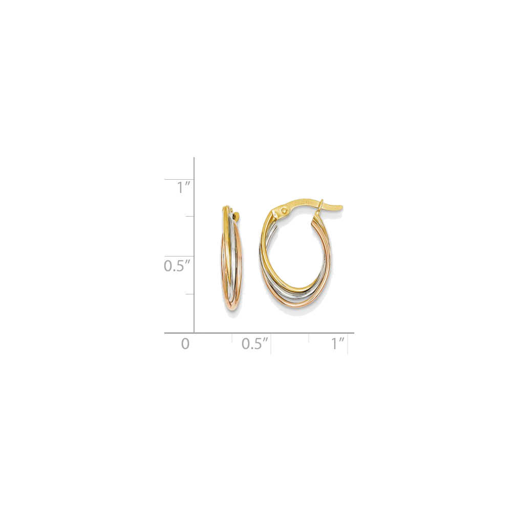 GEMaffair 14k Tri Color Gold Polished Oval Hoop Earrings - 18mm