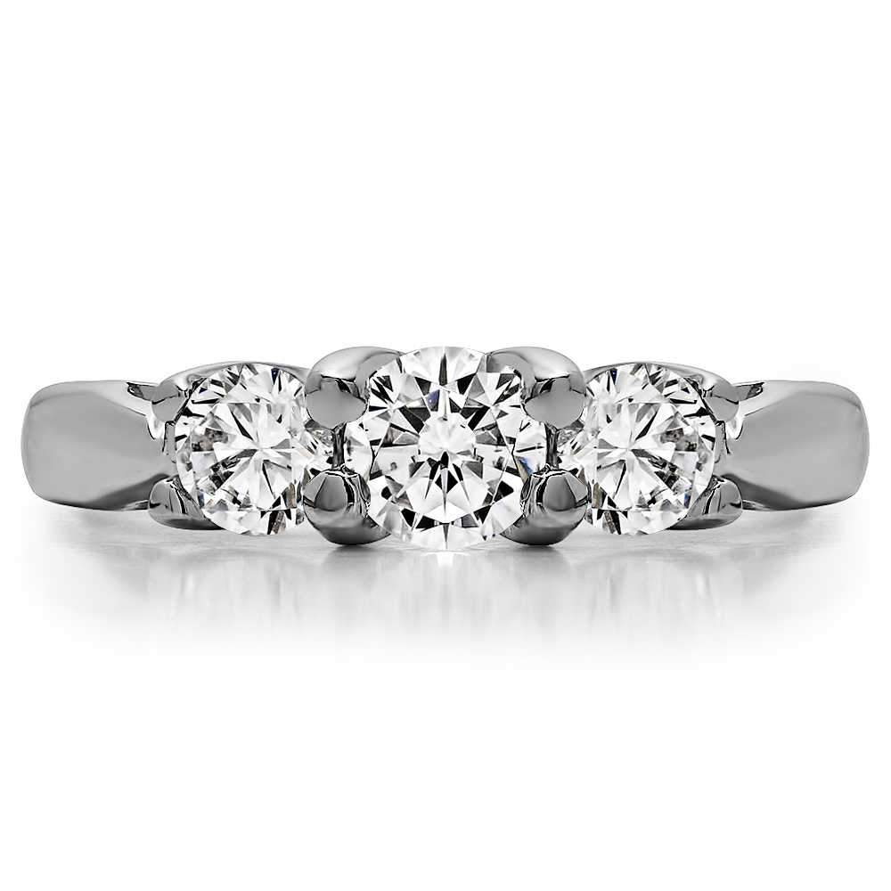 TwoBirch Three Stone Trellis Set Wedding Ring in Sterling Silver with Black And White Diamonds (G-H,I2-I3) (1 CT)