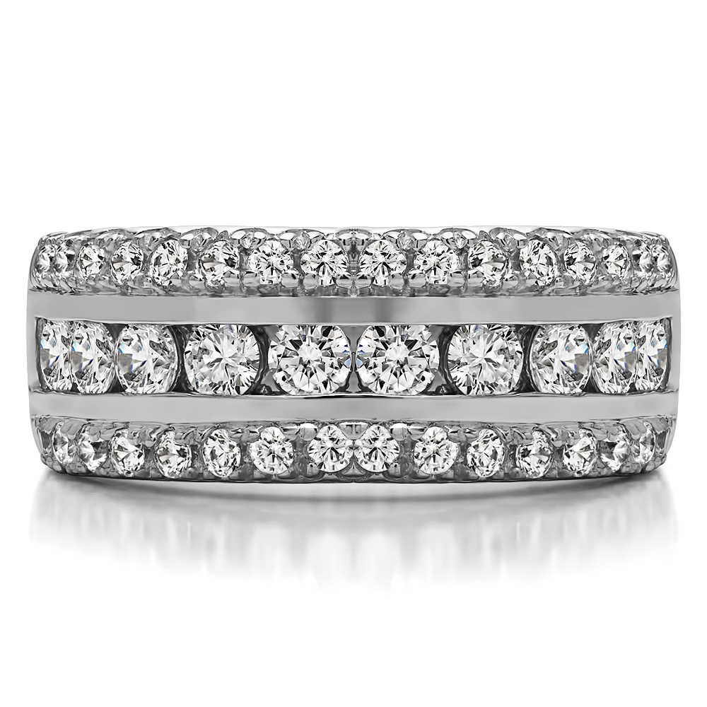 TwoBirch Three Row Fishtail Set Anniversary Ring in Sterling Silver with Diamonds (G-H,SI2-I1) (0.98 CT)