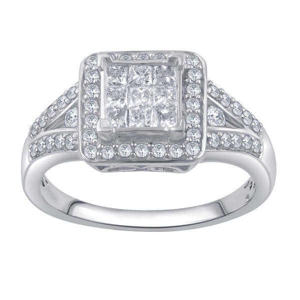 3/4 Cttw Diamond Square Halo Engagement Ring in 14K White Gold - Size 7 Only