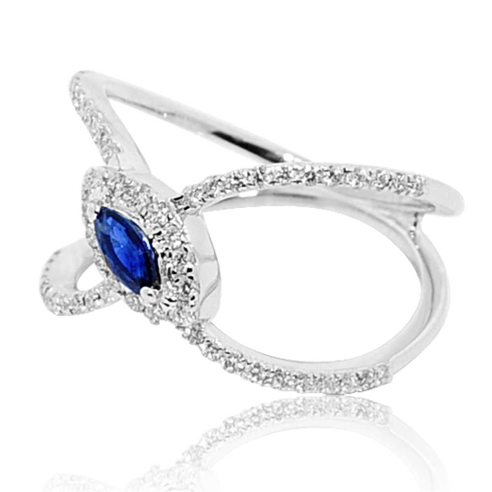 Rings-MidwestJewellery.com 0.54cttww Blue Sapphire And Diamond Wrap Ring 14k White gold 12mm Wide(h/i Color 0.54cttw)